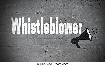 parete, concreto, whistleblower, concetto, fondo