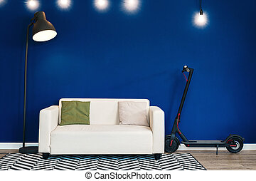 parete, contro, blu, interno, moderno, sofà bianco, soggiorno