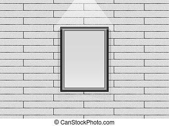 parete, cornice, fondo, appendere