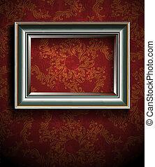 parete, cornice, rosso, vendemmia