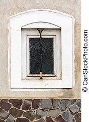 parete, cornice, vecchio, finestra