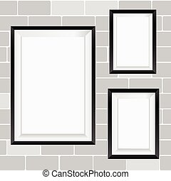parete, cornice, vettore, mattone