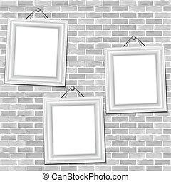 parete, cornici, mattone, appendere