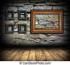 parete, cornici, pietra, legno, pittura