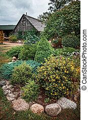 parete, cottage, pietra, fiori