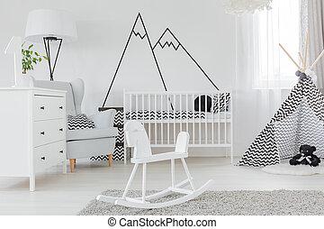parete, decalcomania, bambino, camera letto