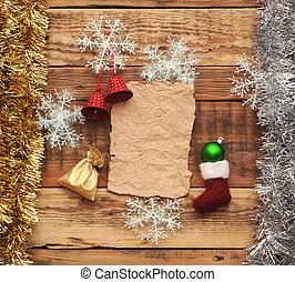parete, decorazione, natale, legno