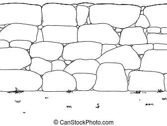 parete, delineato, pietra, erbacce