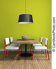 parete, dining-room, moderno, verde, parte