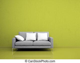 parete, divano, moderno, verde, grigio