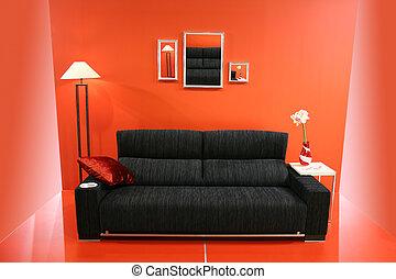 parete, divano, nero rosso
