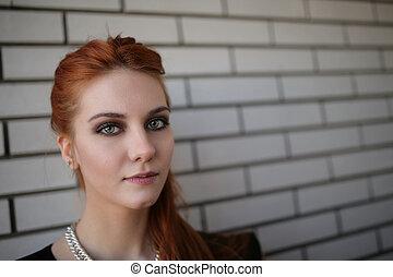 parete, donna, giovane