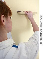parete, donna, pittura