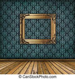 parete, dorato, cornice, interno