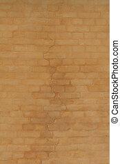 parete, fesso, mattone, giallo