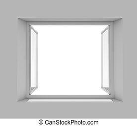 parete, finestra, aperto, bianco, vuoto