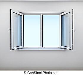 parete, finestra, aperto