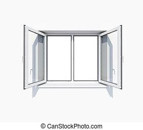 parete, finestra, bianco, aperto, pulito