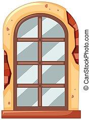 parete, finestra, mattone
