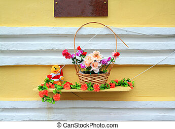 parete, flowerses, rosso giallo