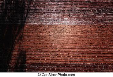 parete, fondale, mattone, rosso, vicolo