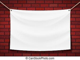 parete, fondo, appendere, bianco, bandiera, mattone