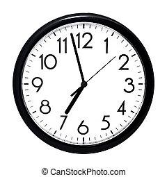 parete, fondo., bianco, isolato, clock.