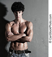 parete, fondo, giovane, muscolare, uomo