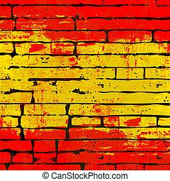 parete, fondo, spagnolo, mattone