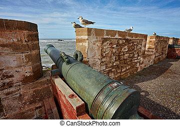 parete, fortificato, essaouira, cannone