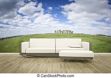 parete, foto, divano, murale, pavimento