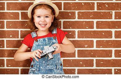 parete, fotografo, macchina fotografica, bambino, ragazza,...