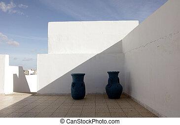 parete, fronte, bianco, brocche