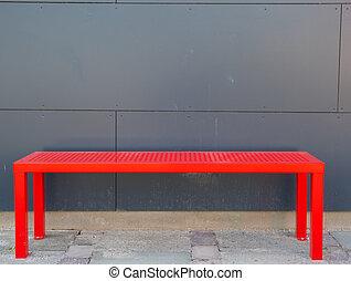 parete, fronte, grigio, rosso, panca