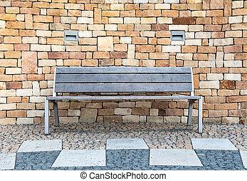 parete, fronte, pietra, vuoto, panca