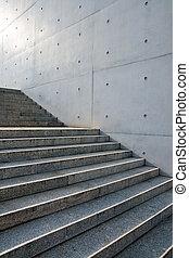 parete, fronte, scale