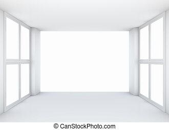 parete, fronte, schermo, bianco, sala esposizione