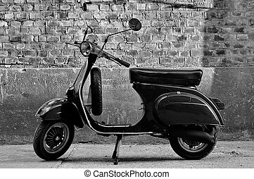 parete, fronte, scooter