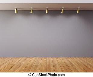 parete, galleria, vuoto, vuoto