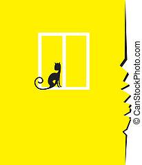 parete, gatto, crepa, finestra, seduta