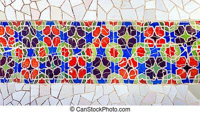 parete, gaudi, mosaico, barcellona
