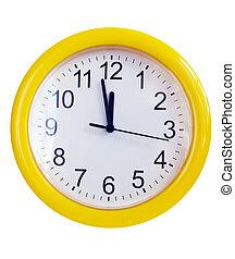 parete, giallo, orologio