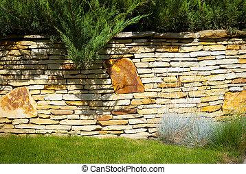 parete, giardino pietra