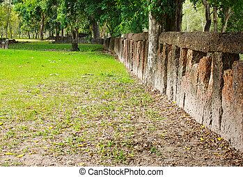 parete, giardino pietra, blocco
