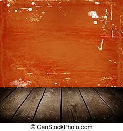 parete, graffio, vecchio, stanza, arancia