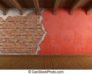 parete, grunge, fesso, vecchio, stanza