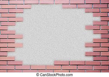 parete, grungy, mattone, cornice