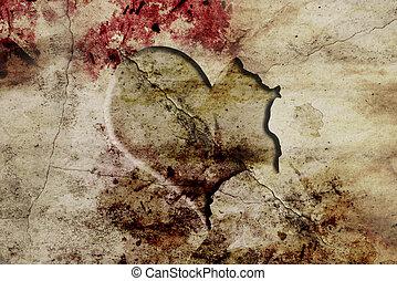 parete, h, vecchio, intagliato, frattura