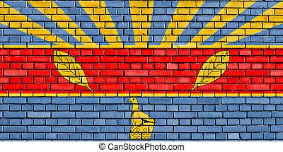 parete, harare, mattone, bandiera, dipinto