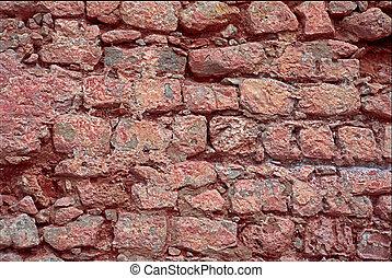 parete, ibiza, pietra, rosso